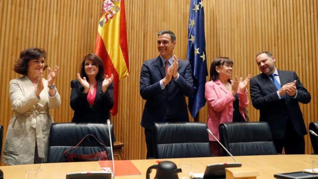 El presidente en funciones del Gobierno, Pedro Sánchez, durante la reunión del Grupo Parlamentario Parlamentario Socialista en el Congreso.