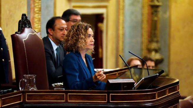 La duodécima presidenta del Congreso de los Diputados y la tercera mujer que ocupa este cargo, Meritxell Batet, durante la sesión constitutiva de las nuevas Cortes Generales que se celebra en el Congreso de los diputados de Madrid.