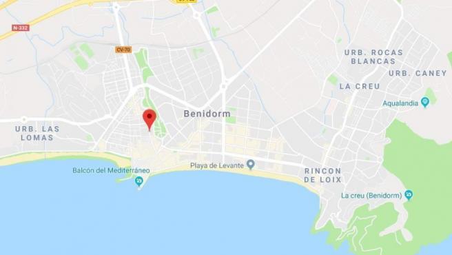 Localización de la calle Ruzafa, en Benidorm (Alicante).
