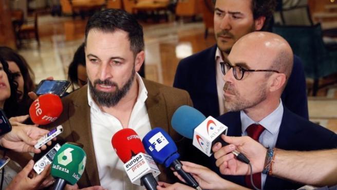 Santiago Abascal y Jorge Buxadé en la presentación de los candidatos de Vox a las elecciones europeas.