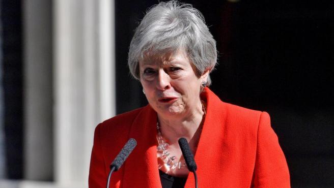 La primera ministra británica, Theresa May, anuncia su dimisión.