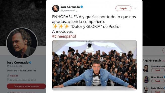José Coronado felicitó en Twitter a Antonio Banderas.