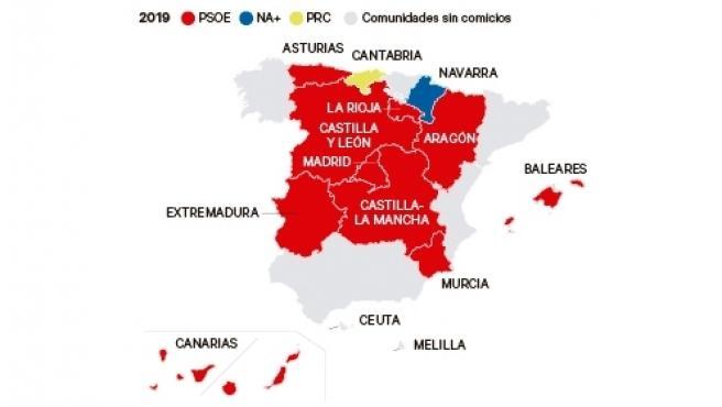 Mapa de España tras el 26M.
