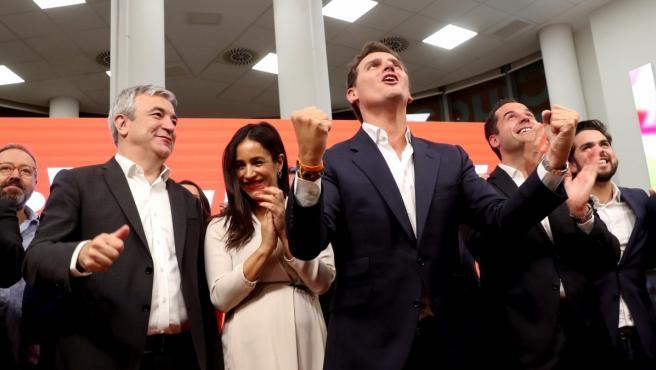 El líder de Ciudadanos, Albert Rivera, durante su comparecencia en la sede del partido para valorar los resultados de las elecciones municipales, autonómicas y europeas.