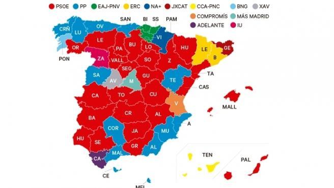 Mapa de España por provincias en las elecciones 26M.