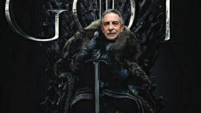 Montaje de una imagen promocional de la serie 'Juego de Tronos' con el reelegido presidente de Cantabria, Miguel Ángel Revilla, en un meme publicado por @paulaherrerog.