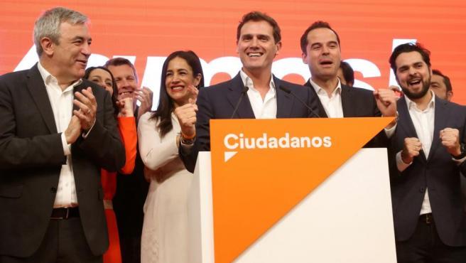 Rivera, Aguado, Villacís y Garicano, en la noche electoral.