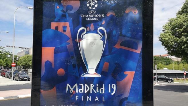 Un cartel anuncia la final de la Champions en Madrid