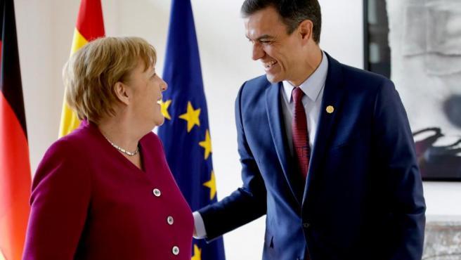 Cumbre bilateral entre Pedro Sánchez y Angela Merkel tras las elecciones europeas del 26-M.