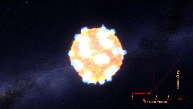 Imagen facilitada por la Universidad Nacional Australiana de la captura llevaba a cabo por un equipo de astrónomos de los primeros minutos de la explosión de dos estrellas y la onda de choque generada por el colapso del núcleo de una supernova.