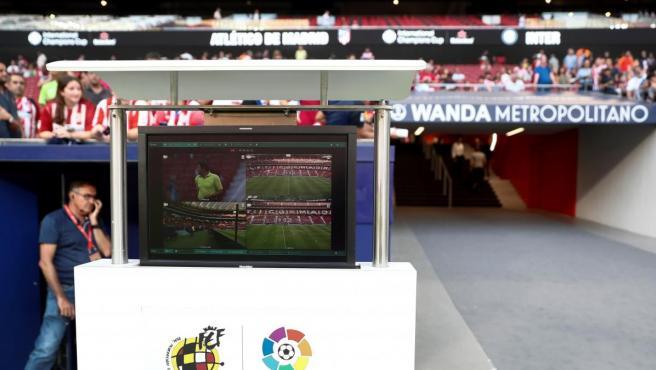El VAR, en un partido del Atlético de Madrid