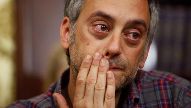 Xulio Ferreiro, visiblemente emocionado durante la rueda de prensa.