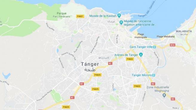 Ubicación de Tánger, Marruecos.