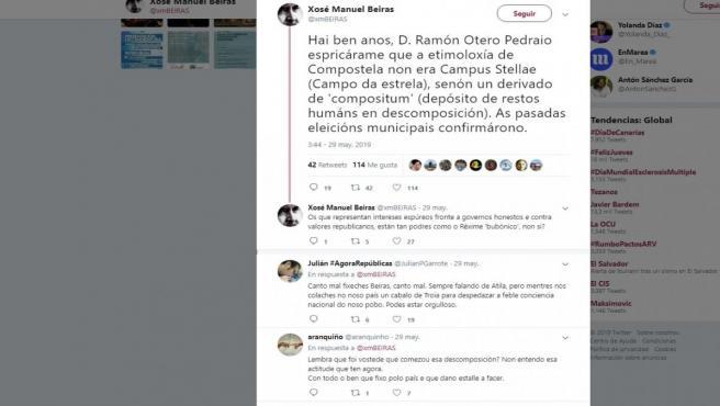 Polémico 'twit' de Beiras sobre el origen del término Compostela como 'depósito de restos humanos en descomposición'