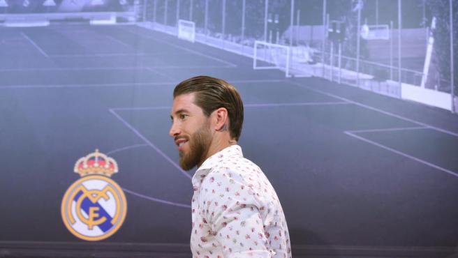 Sergio Ramos, en la sala de prensa de la Ciudad Real Madrid.