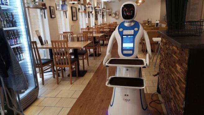 Imagen de un robot camarero en Budapest.