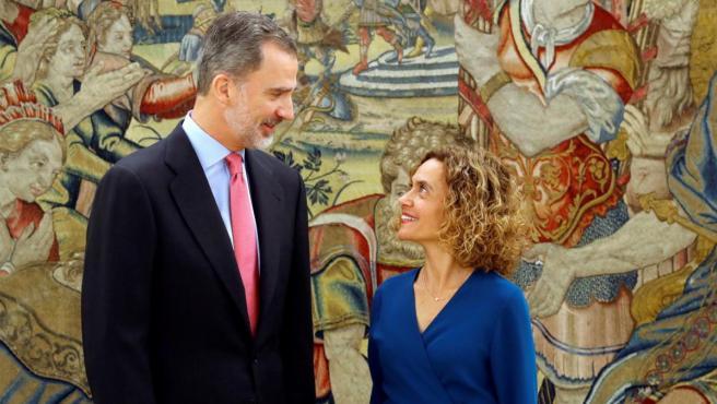 El Rey recibe en Zarzuela a la presidenta del Congreso, Meritxell Batet.