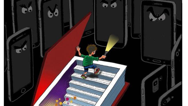 'Libro vs. tecnología', viñeta de Asier.