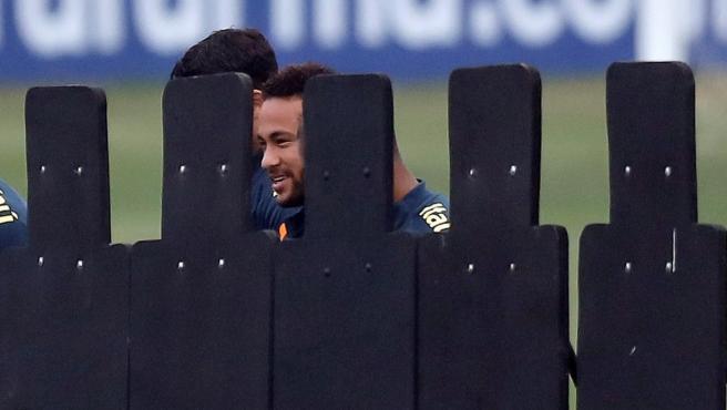 Neymar, en un entrenamiento de la selección de Brasil.