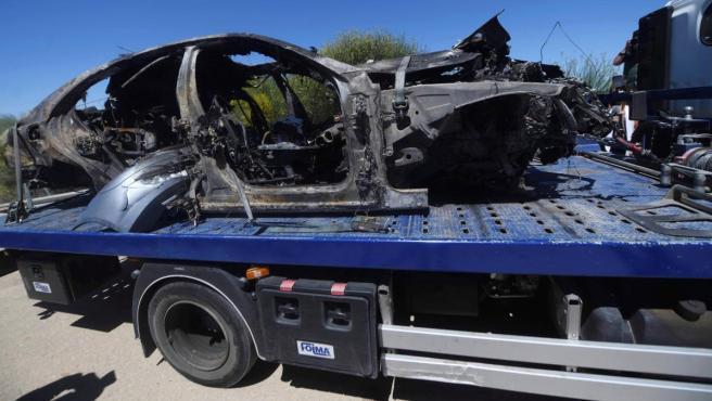 El vehículo en el que viajaba el futbolista Antonio Reyes, tras el accidente mortal.