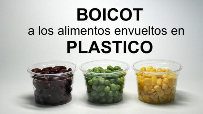 Campaña de boicot a los alimentos envasados en plástico.