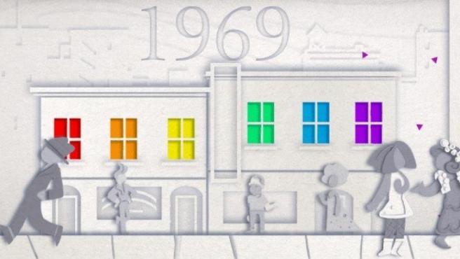 Doodle de Google por los 50 años de Orgullo Gay.
