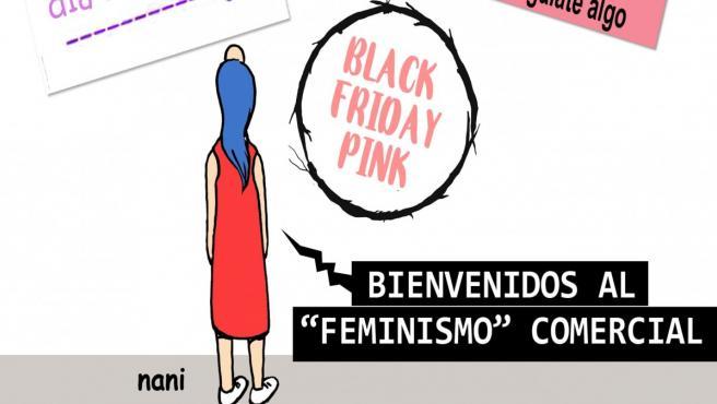 Feria del Libro feminista, viñeta de Nani.