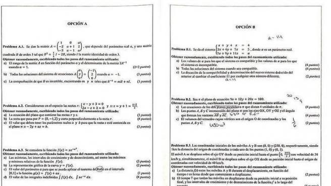 Examen de matemáticas de la Selectividad 2019.