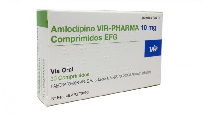 Caja del medicamento para la tensión Amlodipino Vir de 10 mg.