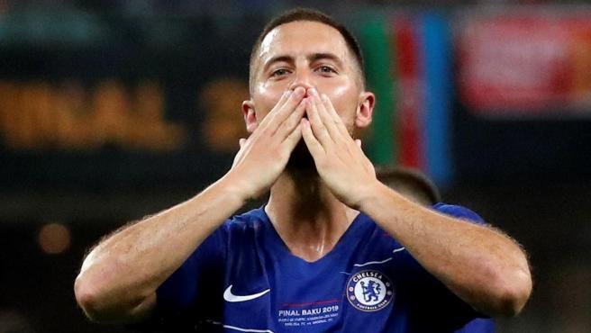 Hazard celebra un gol en la final de la Europa League.