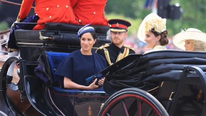 Meghan Markle reapareció este sábado en la ceremonia 'Trooping the Colour' en Londres.