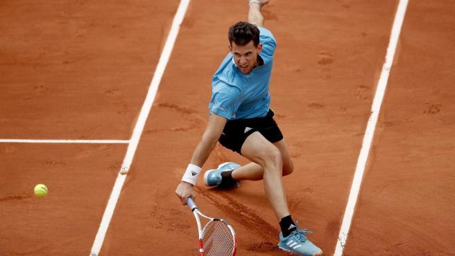 Dominic Thiem, en la semifinal de Roland Garros ante Novak Djokovic.