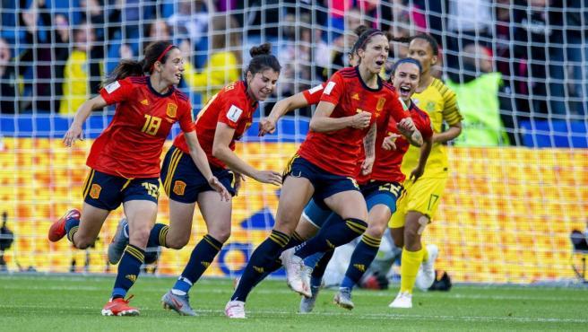 Jenni Hermoso celebra uno de sus goles ante Sudáfrica en el Mundial de Francia.