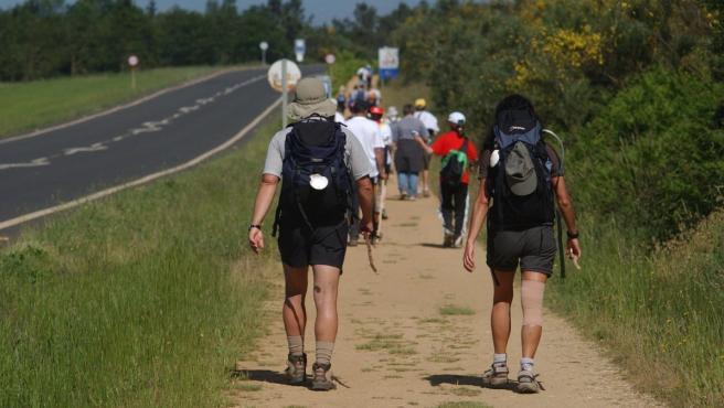 Imagen de archivo de un grupo de peregrinos en el Camino de Santiago.