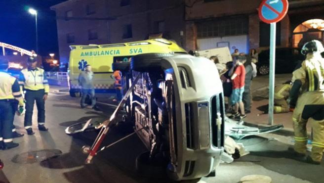 Zaragoza.- Sucesos.- Herida la conductora de un turismo al chocar contra otro coche y volcar, en Illueca