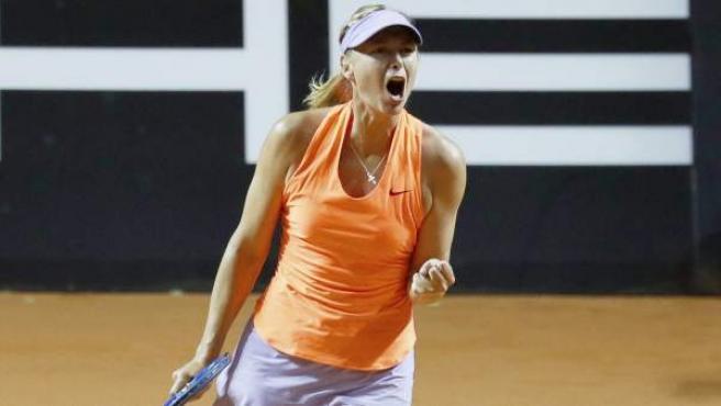 Maria Sharapova en su regreso a las pistas en el torneo de Stuttgart.