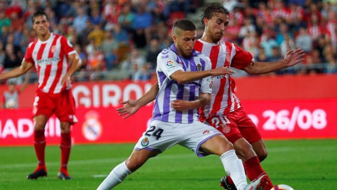 Girona y Valladolid, durante un partido de Liga.