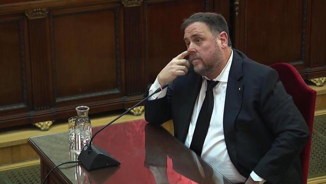 Oriol Junqueras en la tercera jornada del juicio del 'procés'.