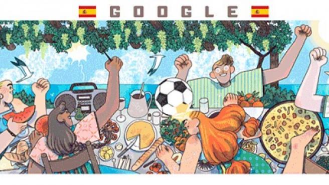 El doodle de Google dedicado a la selección española de Fútbol.