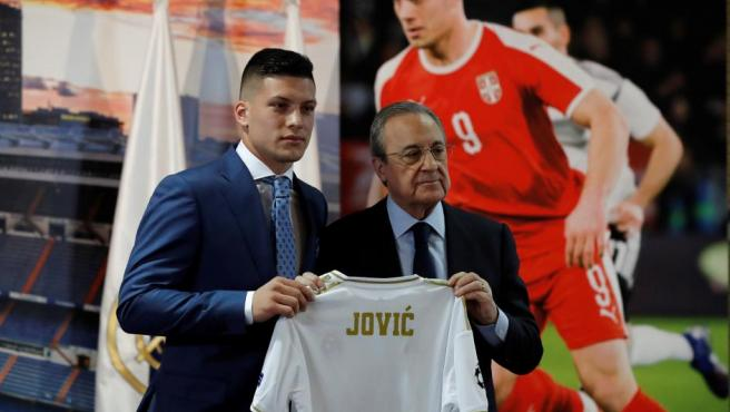 Luka Jovic y Florentino Pérez.