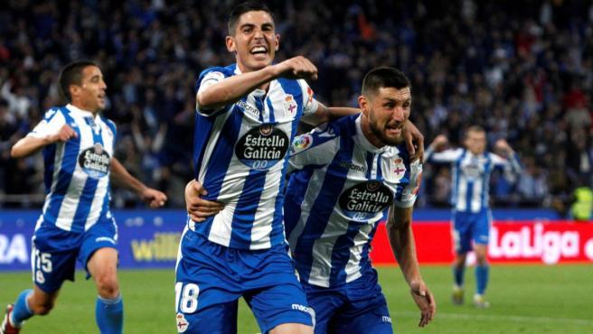 El Depor celebra uno de los goles ante el Málaga