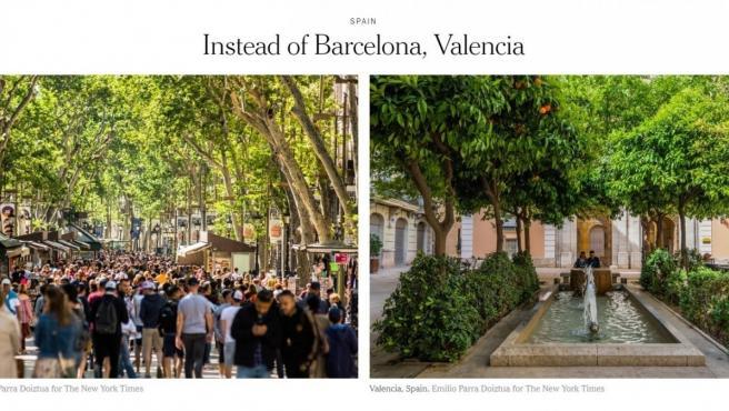 Imagen de La Rambla de Barcelona y de la Lonja de la Seda de Valencia.