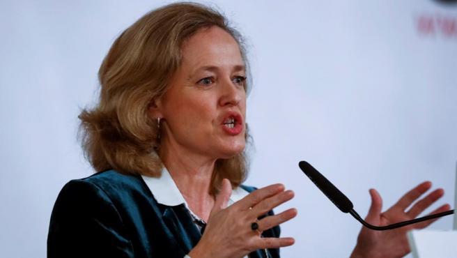 La ministra Nadia Calviño durante su intervención en el Desayuno informativo de Europa Press.
