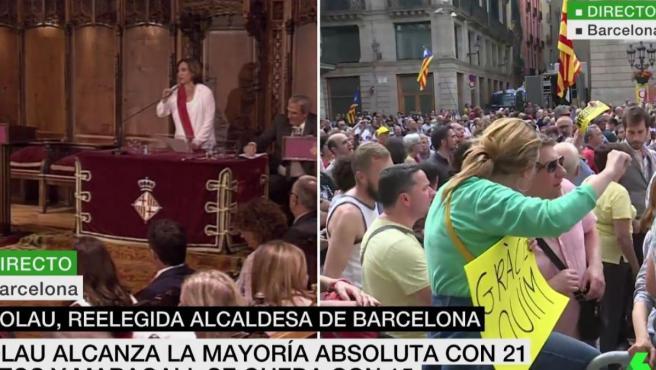 Colau, investida como alcaldesa de Barcelona.