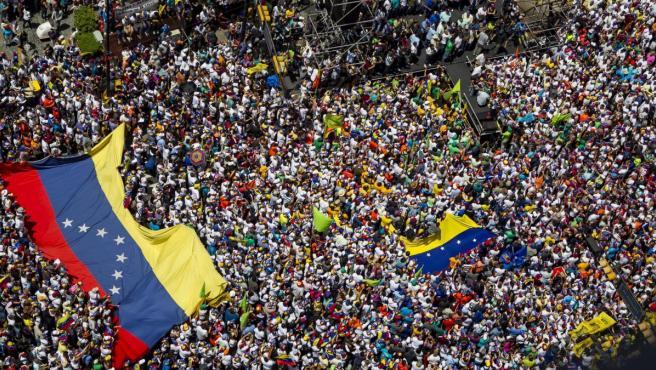 Imagen de una manifestación contra el gobierno de Nicolás Maduro en Caracas (Venezuela).