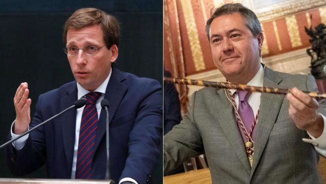 José Luis Martínez-Almeida (PP) y Juan Espadas (PSOE), tras ser proclamados alcaldes de Madrid y Sevilla, respectivamente.