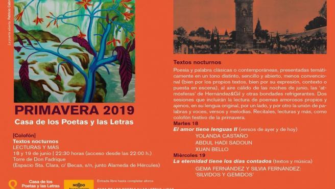 Sevilla.- El ciclo 'Textos nocturnos' cierra la programación de primavera de la Casa de los Poetas