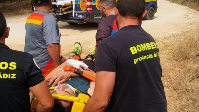 Cádiz.- Sucesos.- Trasladan al hospital a un ciclista accidentado en El Madroñal Las Abiertas, en El Bosque