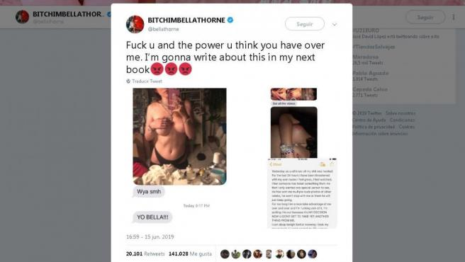Capturas de pantalla de los tuits de Bella Thorne en los que comparte sus fotos desnuda.