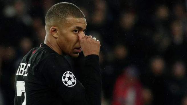 Kylian Mbappé, en la eliminación del PSG a manos del Manchester United,